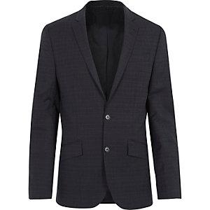 Navy subtle grid print slim suit jacket