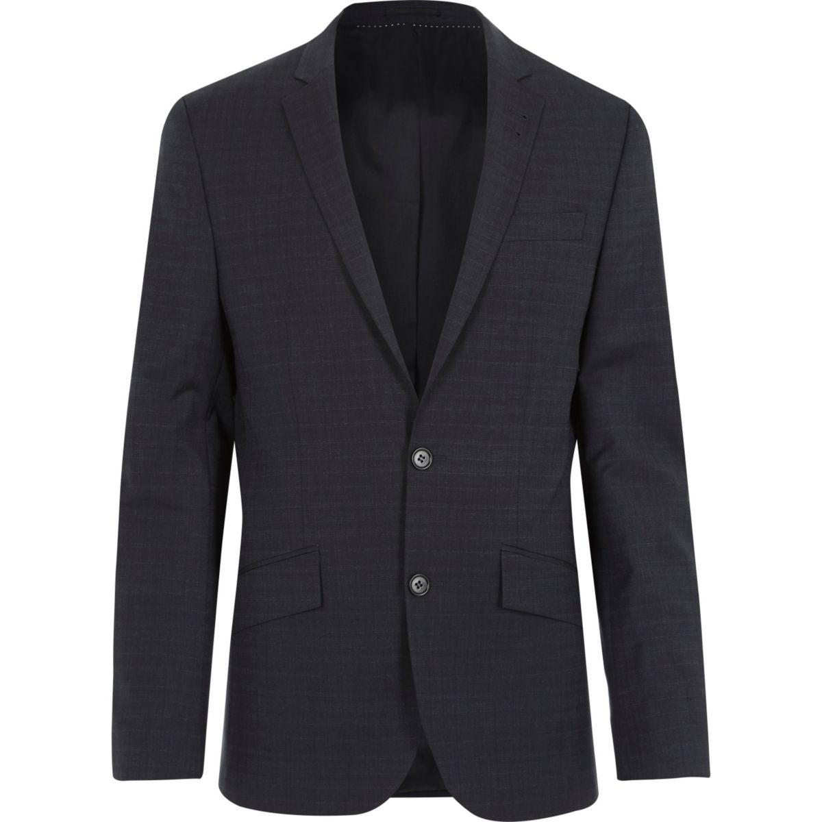 Navy subtle grid print slim suit jacket