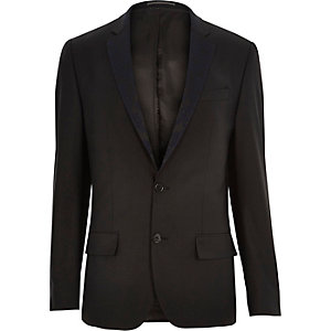 Black floral lapel wool-blend suit jacket