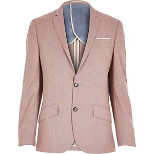 Red linen-blend smart blazer