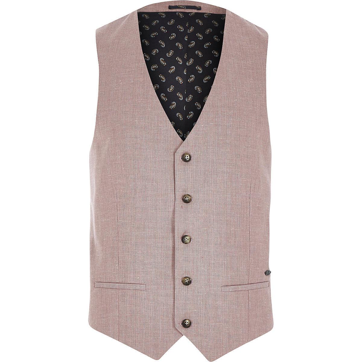 Red linen-blend smart vest