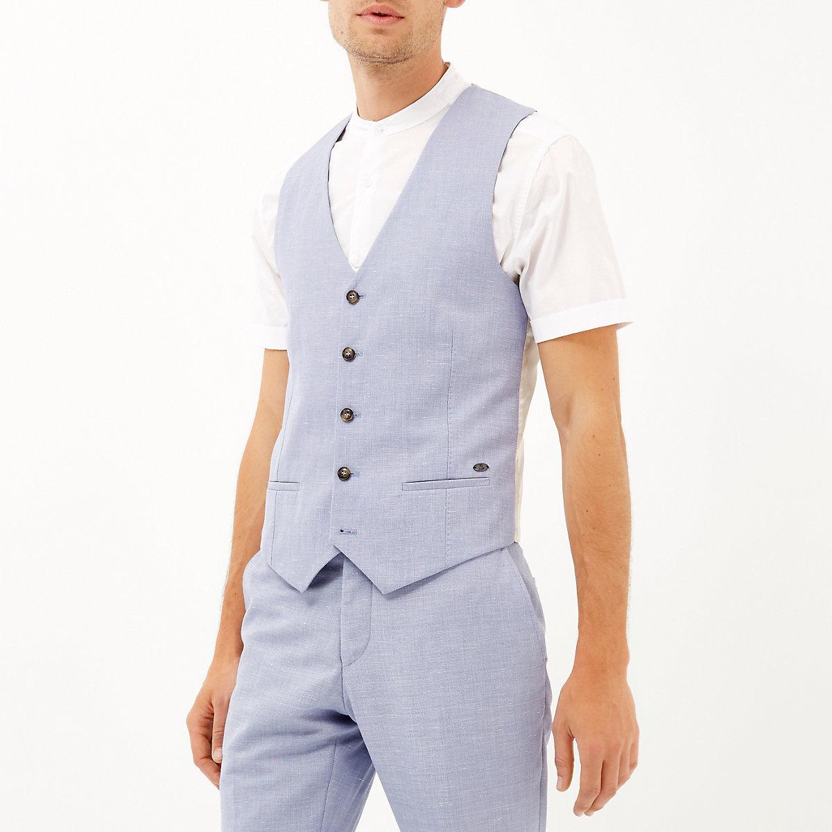 Blue paisley lined vest