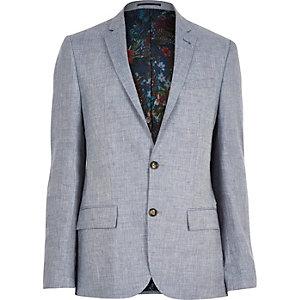 Grey linen floral lined slim blazer