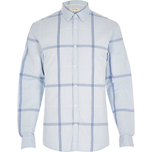 Blue oversized grid check shirt