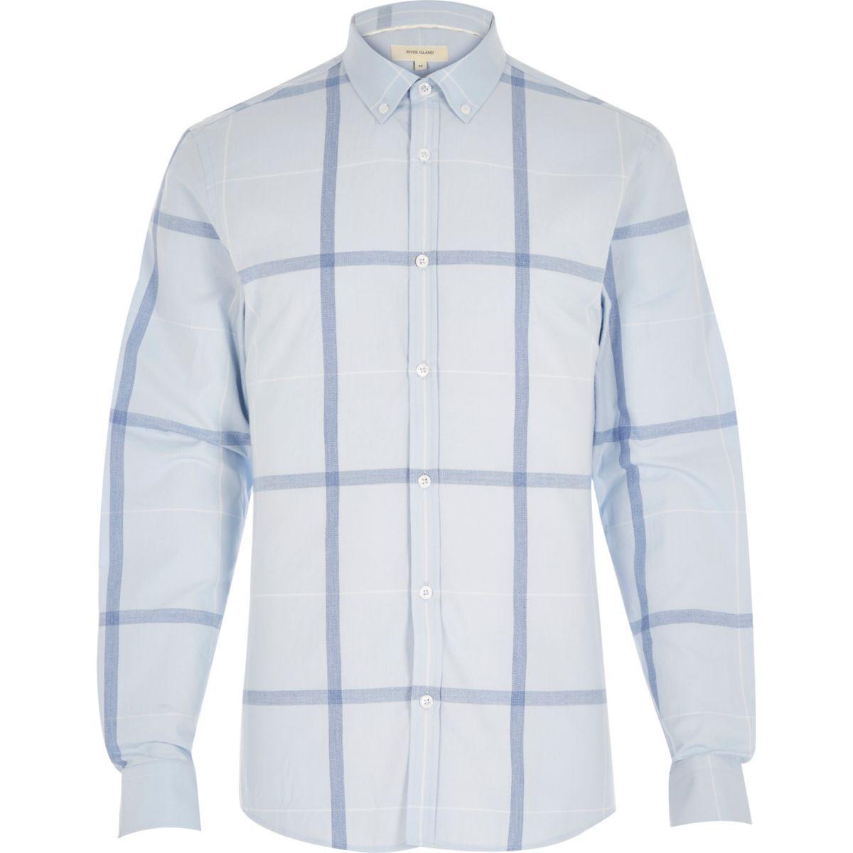 Blue oversized grid check shirt