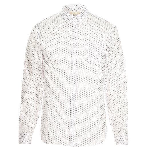 White micro retro print slim shirt