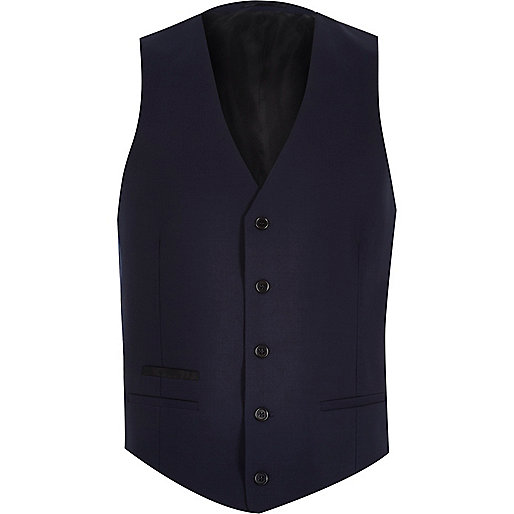 Navy wool-blend button up waistcoat
