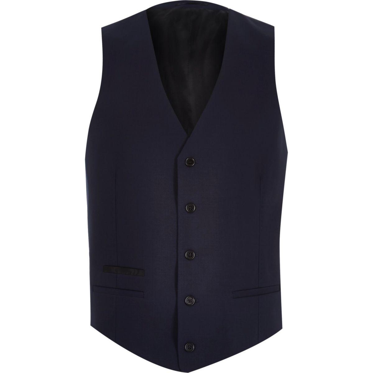 Navy wool-blend button up waistcoat