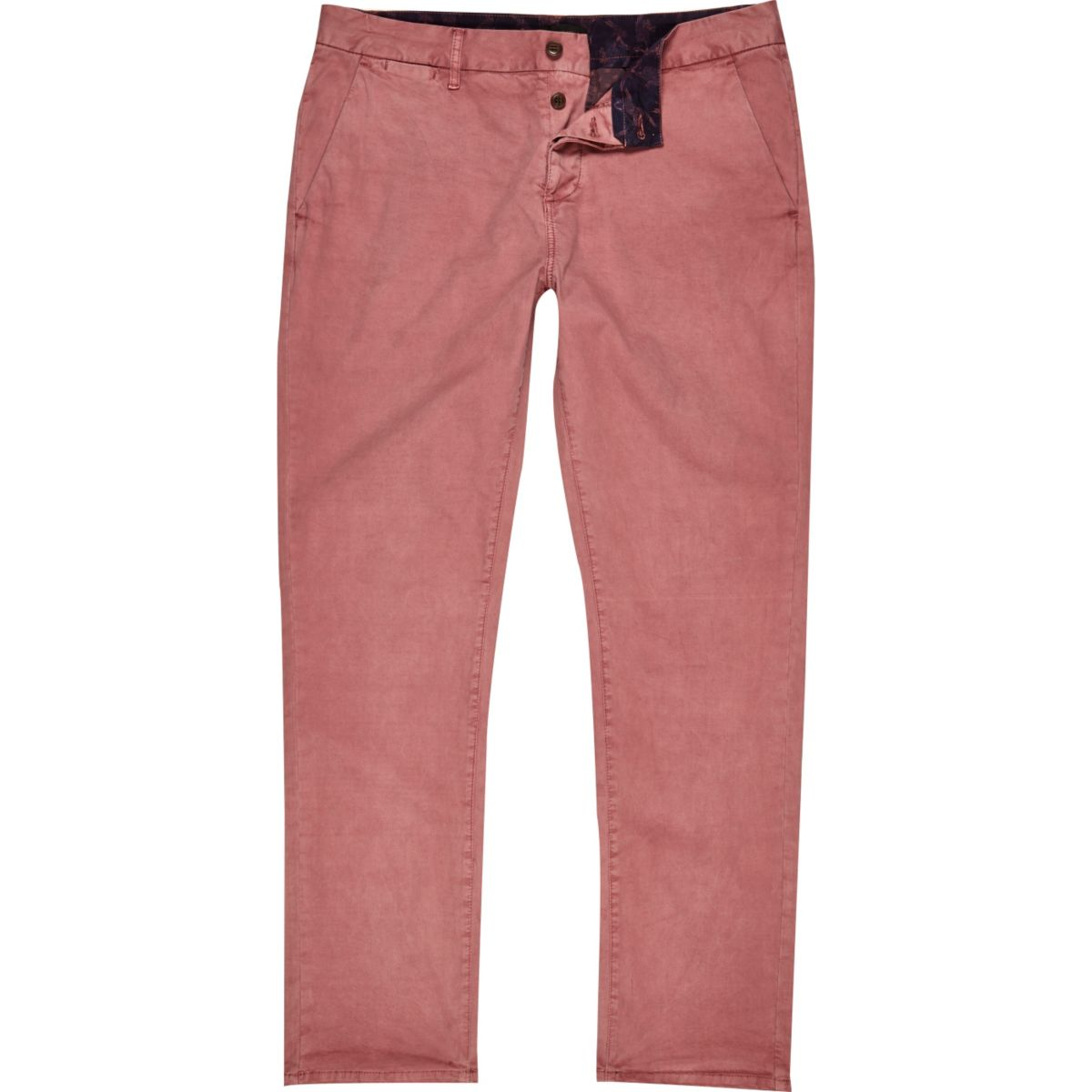 Pink slim chino trousers