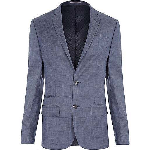 Veste de costume slim à carreaux bleue