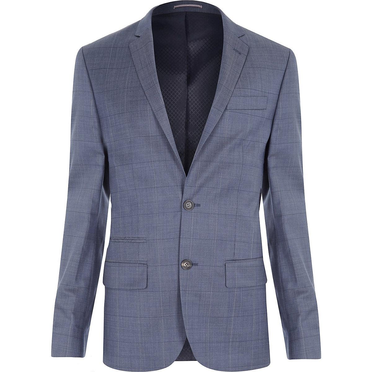 Veste de costume slim à carreaux bleue