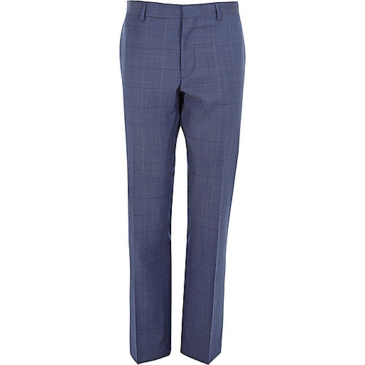 Blue check wool-blend slim suit pants