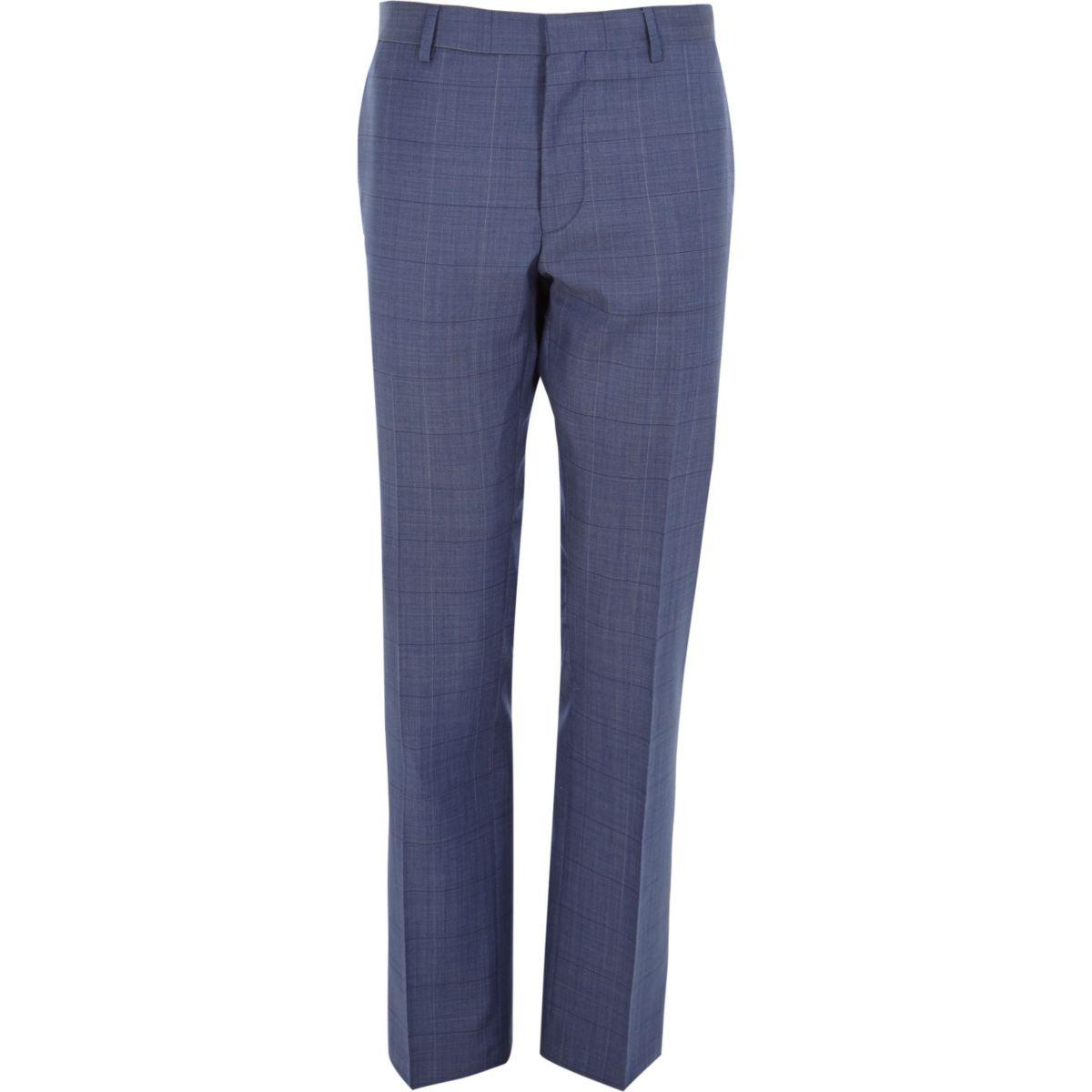 Smalle blauw geruite pantalon van wolmix