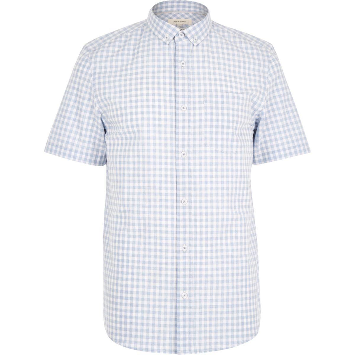 Blau meliertes kurzärmliges Gingan-Hemd