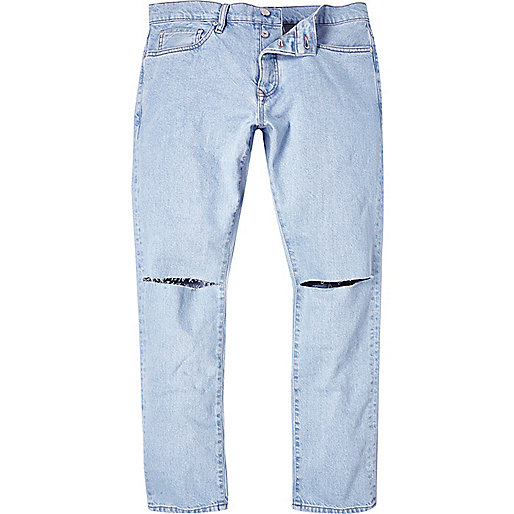 Light wash ripped Dylan slim jeans