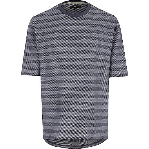 Navy jacquard stripe curved hem t-shirt