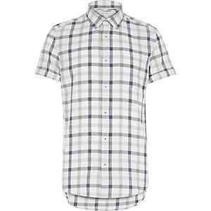 Chemise écrue à carreaux et manches courtes