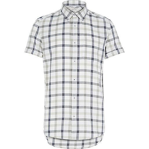 Ecru check short sleeve shirt