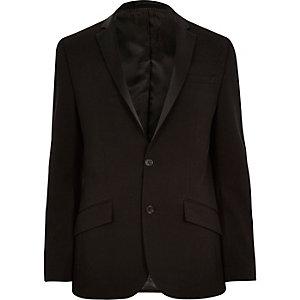 Veste cintrée style smoking texturée côtelée noire