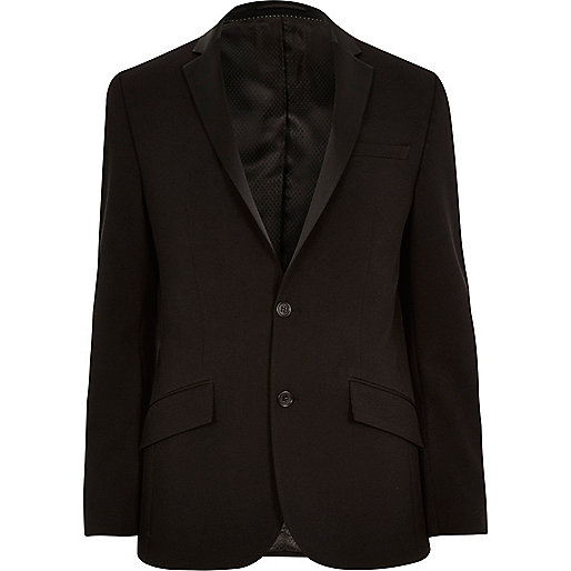 Black textured ribbed slim tux jacket