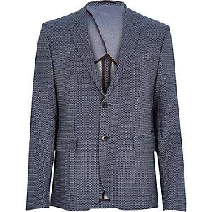 Navy geo slim suit jacket