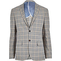 Grey check linen-blend smart suit jacket