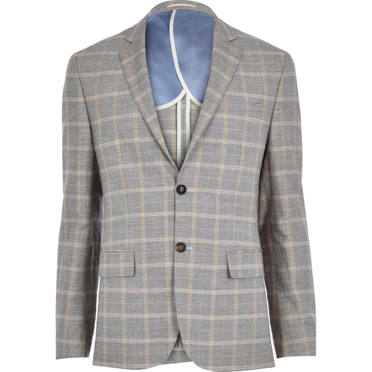 Grey check linen-blend smart suit jacket