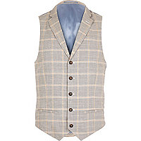 Grey check linen-blend smart waistcoat
