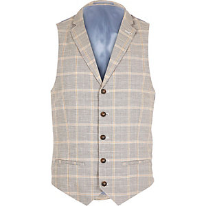 Grey check linen-blend smart vest
