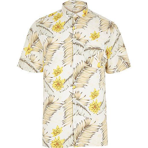 White Hawaiian print short sleeve shirt