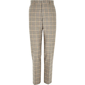 Grey check linen-blend smart pants