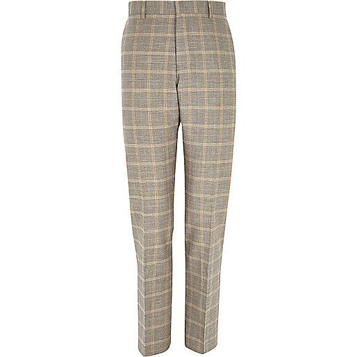 Grey check linen-blend smart pants