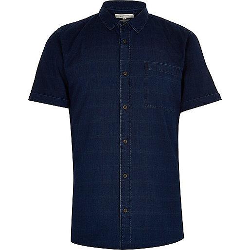 Navy denim grid print short sleeve shirt
