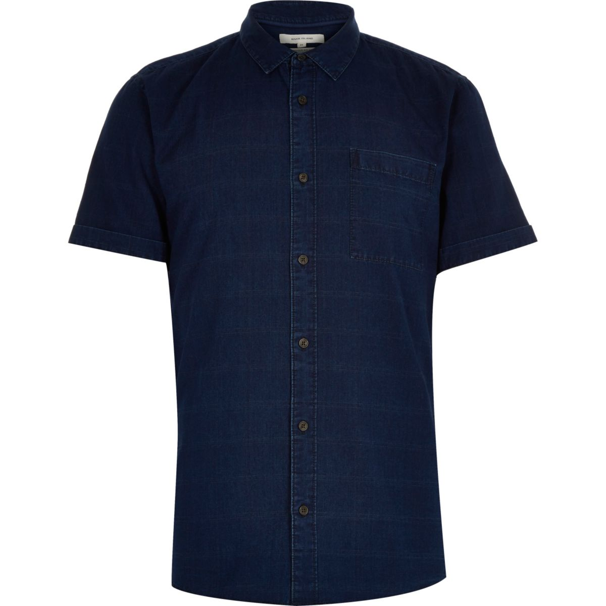 Navy denim grid print short sleeve shirt