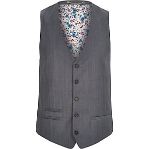 Grey wool-blend print lined slim waistcoat