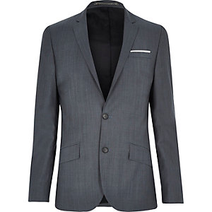 Veste de costume cintrée en laine mélangée grise