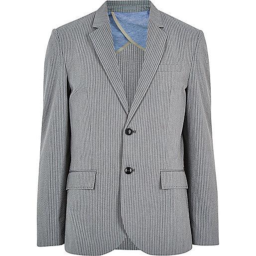 Grey cotton seersucker blazer