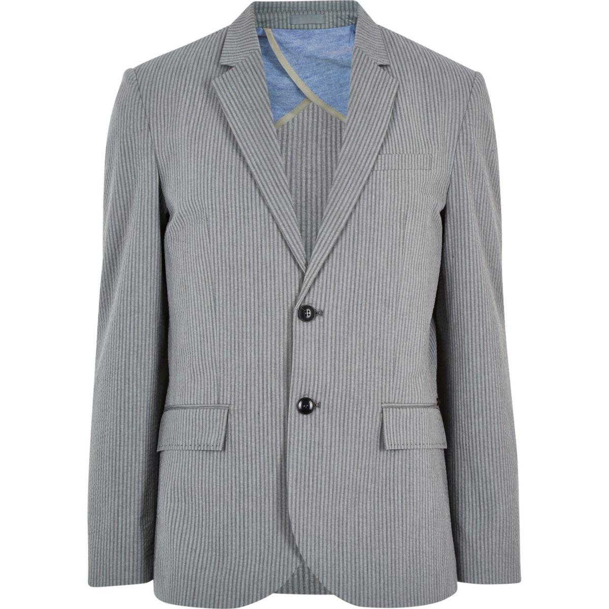 grey cotton seersucker blazer - blazers - sale - men