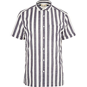White pajama stripe short sleeve shirt