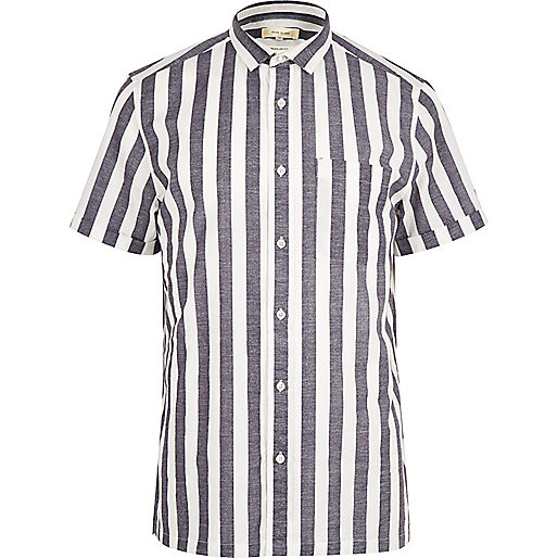 White pyjama stripe short sleeve shirt