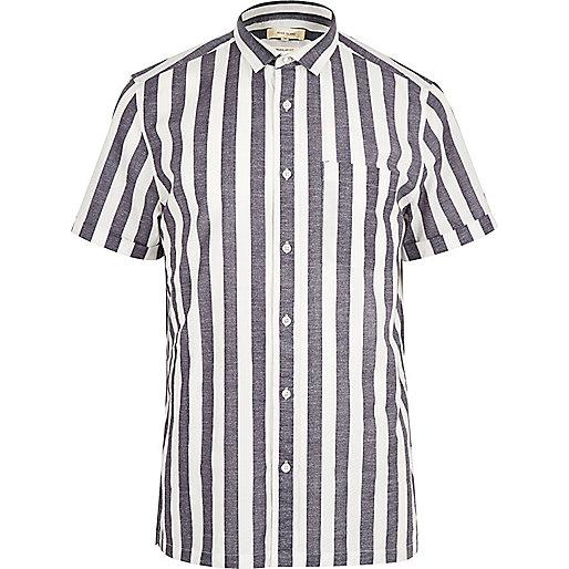 White pajama stripe short sleeve shirt