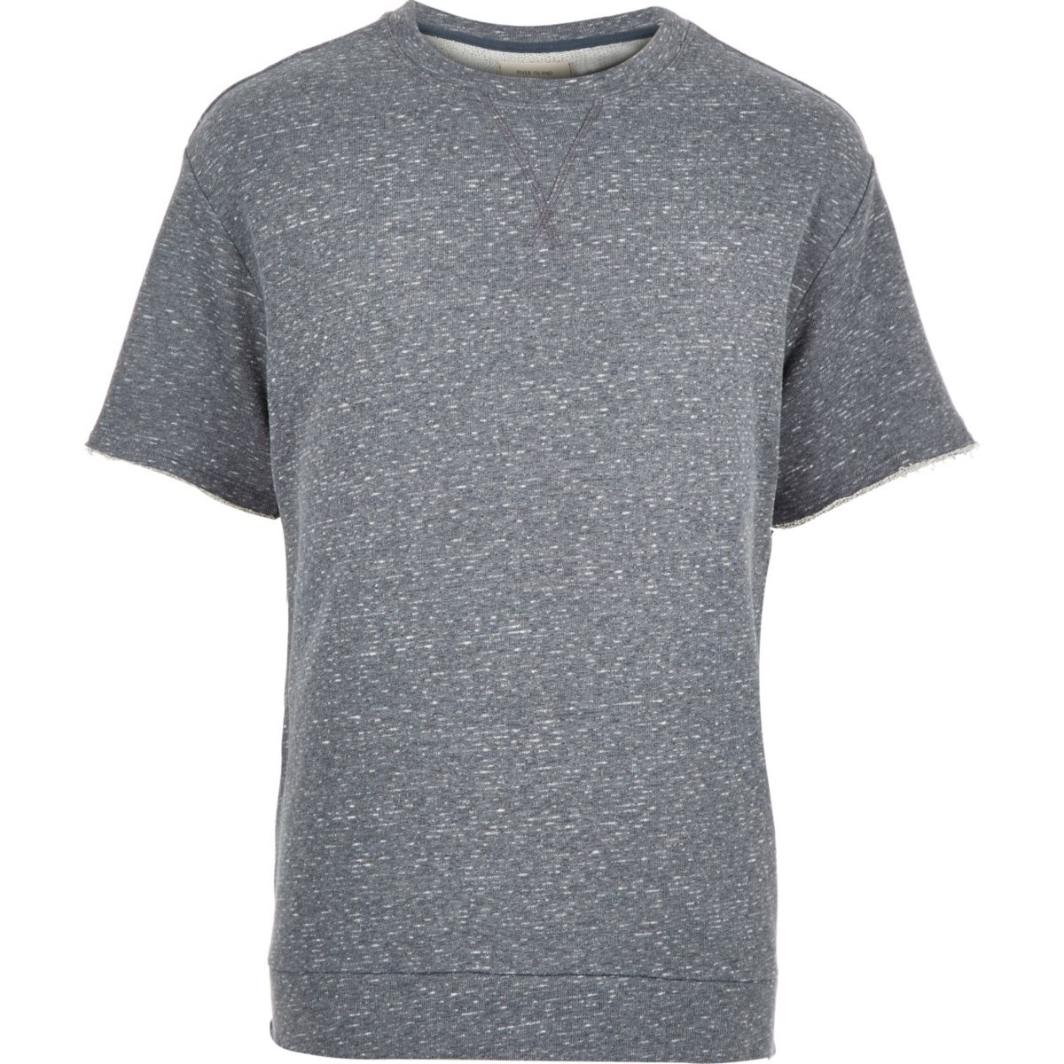 Blue loopback short sleeve sweatshirt