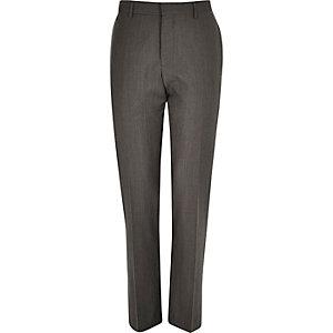 Brown premium wool slim suit trousers