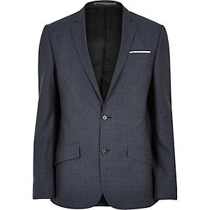 Veste de costume cintrée en laine bleue de qualité supérieure