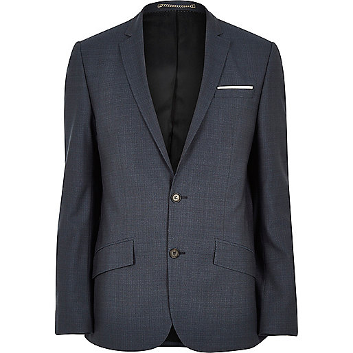 Blue premium wool slim suit jacket