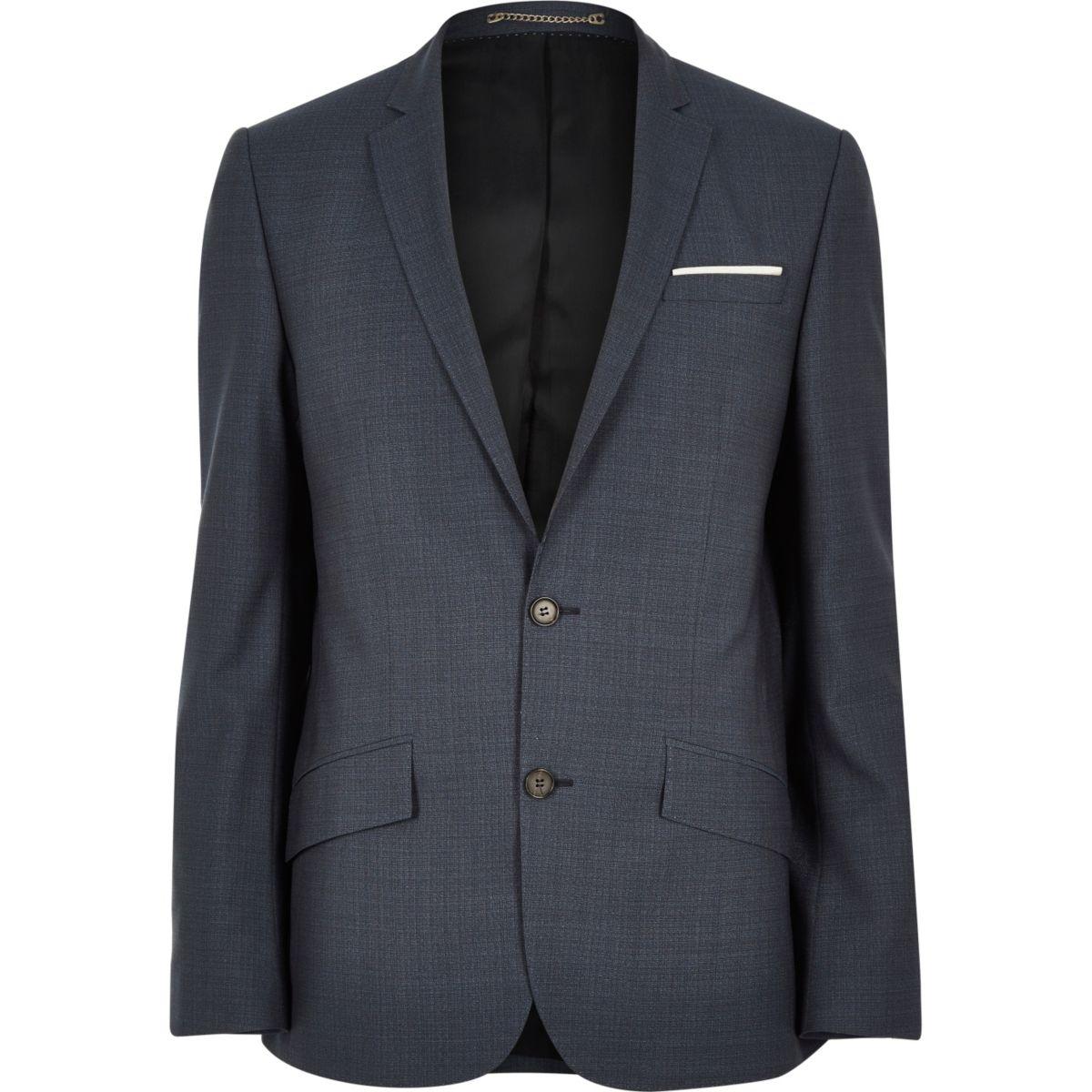 Blue premium wool slim suit jacket