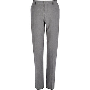 Grey slim textured smart suit trousers