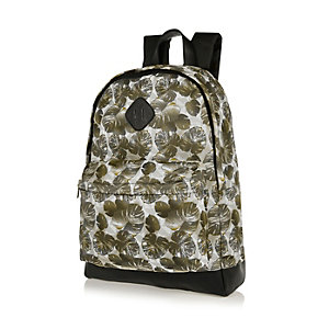 Green leaf print mesh backpack
