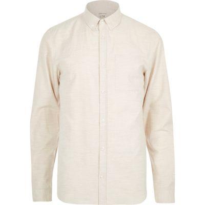 Ecru mergel overhemd met lange mouw en textuur