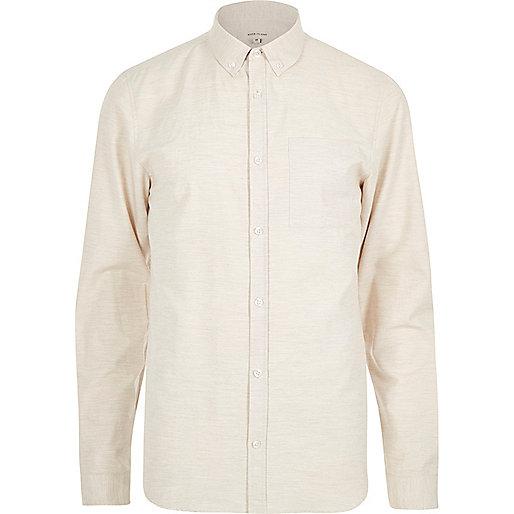 Ecru textured marl long sleeve shirt